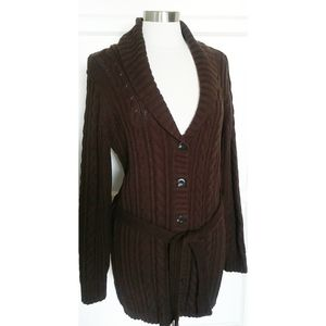 NWT Eddie Bauer cable knit open cardigan